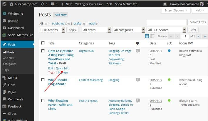 display of where quick edit appears in WordPress